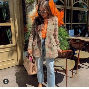 Mango multi color checked blazer bloggers favorite